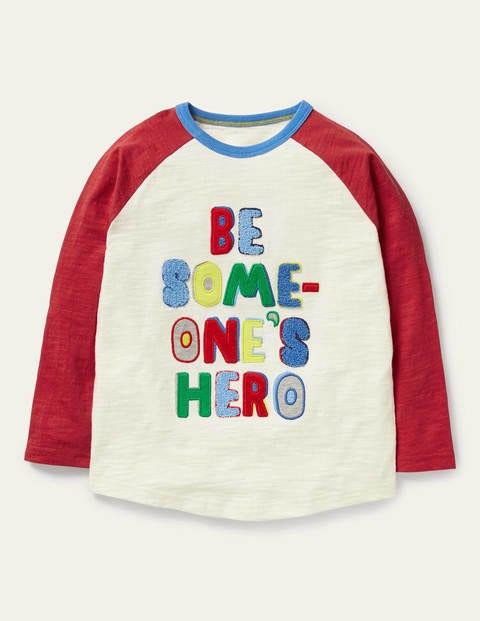 Hero Slogan Raglan T-shirt - Ivory/Elizabethan Blue Hero