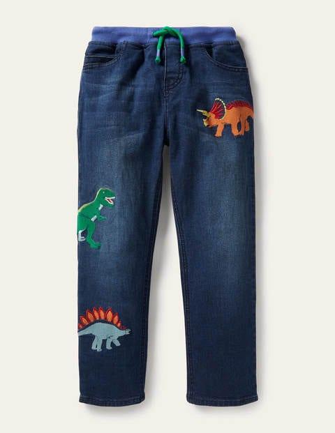 Jeans zum Hineinschlüpfen mit Applikation - Mittleres Vintageblau, Dinos
