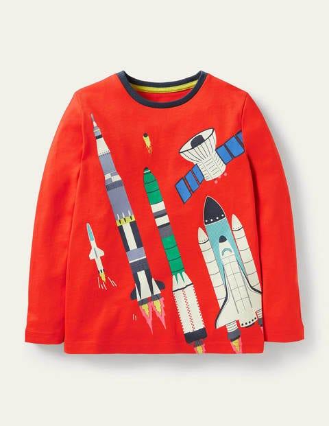 T-Shirt mit leuchtender Rakete - Raketenrot, Spaceshuttle