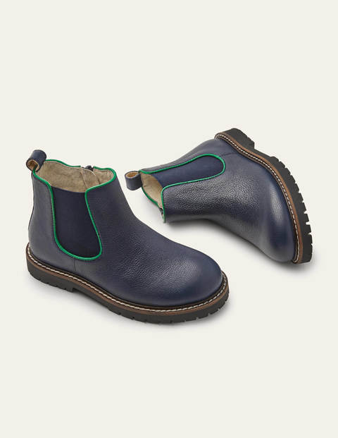 Leather Chelsea Boots - College Navy