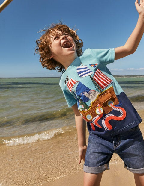 Lift-the-flap Beach T-Shirt - Aqua Blue Pirate Ship