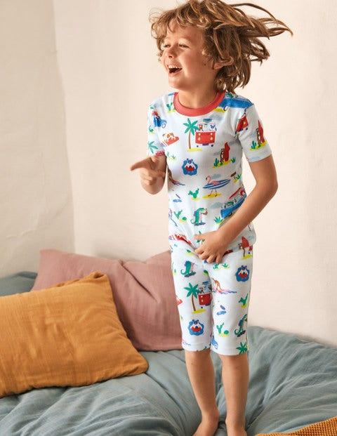 Cosy Twin Pack Short Pajamas - Ivory Beach Animals