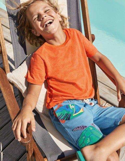 T-shirt délavé en tissu flammé - Orange mandarine