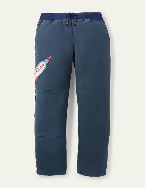 Rib Waist Appliqué Pants - Robot Blue Rocket