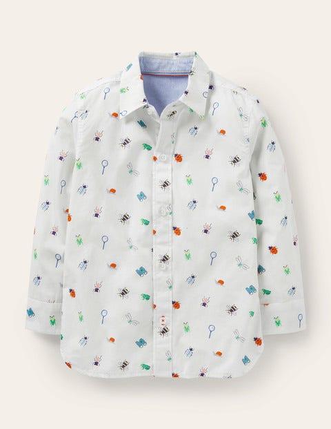 Printed Laundered Shirt - Ivory Bugs