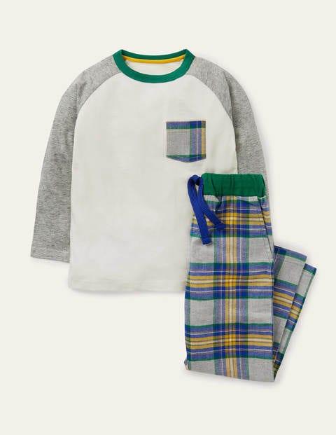 Raglan Brushed Pyjama Set - Grey Marl/Greek Blue