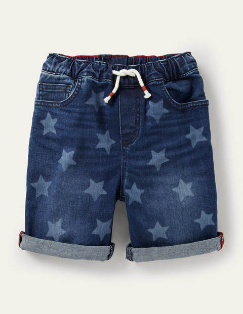 Shorts mit Adventure-Flex zum Hineinschlüpfen - Dunkles Vintageblau, Sterne