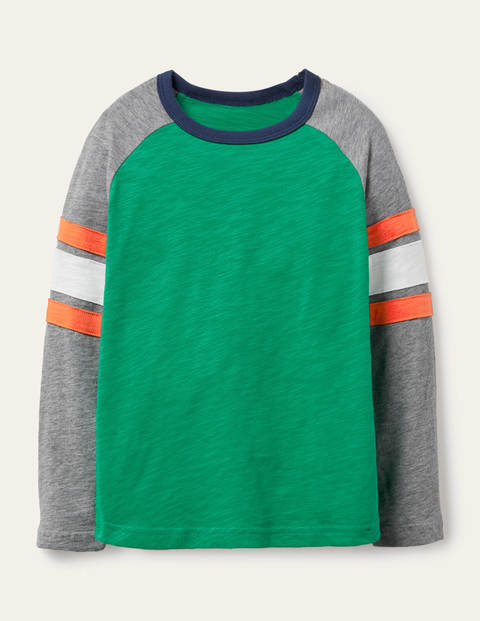 T-shirt manches raglan - Vert printemps/gris chiné