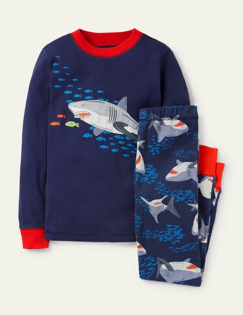 Appliqué Long John Pajamas - College Navy Feeding Sharks