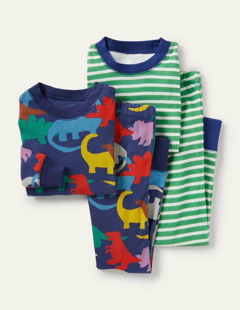 Cosy Twin Pack Long Pyjamas - College Navy Rainbow Dinos