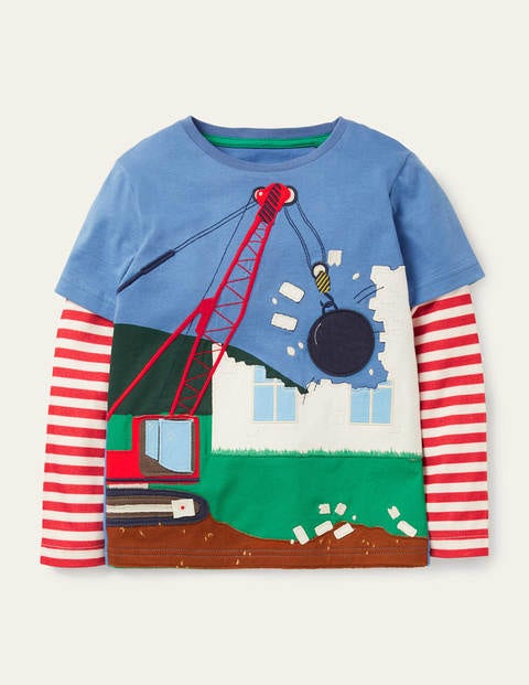 Lift-the-flap Appliqué T-shirt - Elizabethan Blue Digger