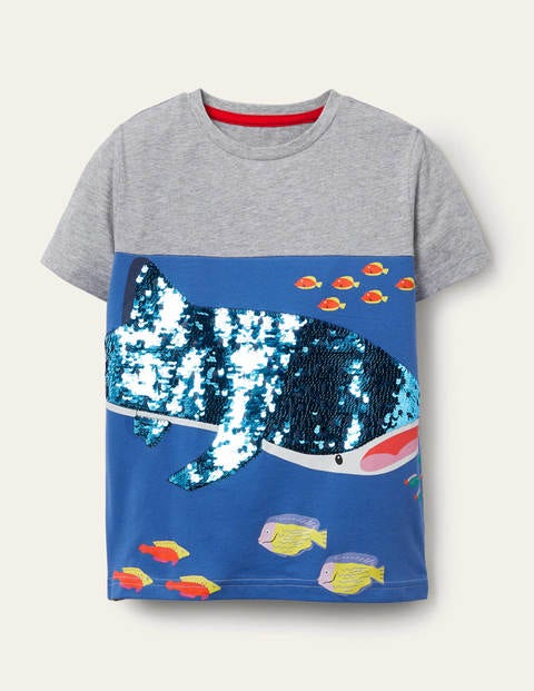 Animal Sequin T-shirt - Grey Marl Whale Shark