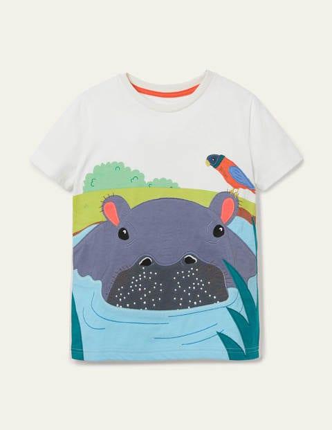 Wild Animal Appliqué T-shirt - Ivory Hippo
