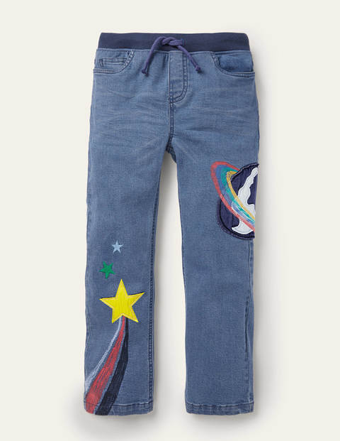 Appliqué Denim Trousers