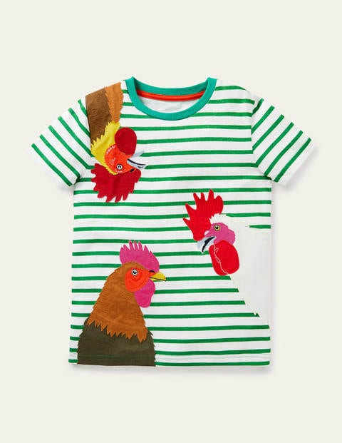 Gestreiftes T-Shirt mit Tierapplikation