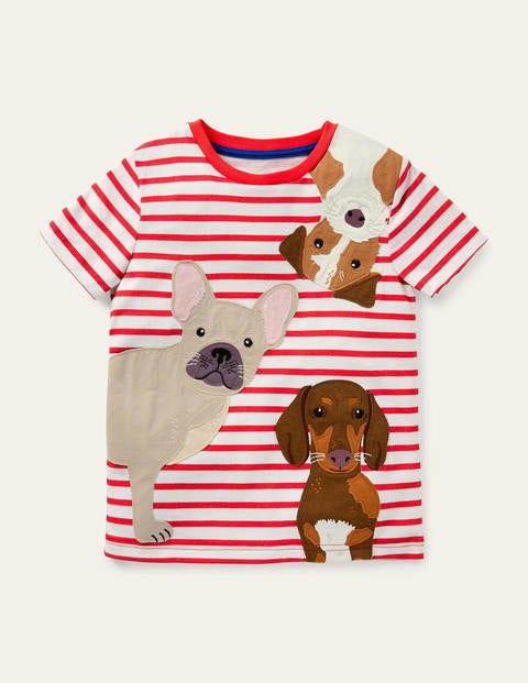 Stripy Pets Appliqué T-shirt - Strawberry Tart Red Dogs