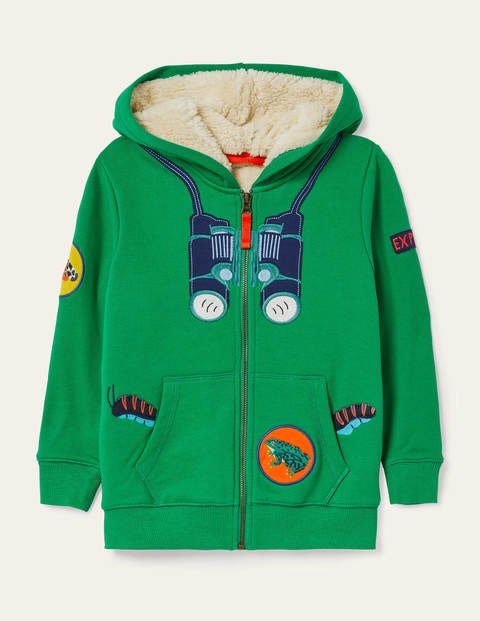 Shaggy-lined Zip-up Hoodie - Sapling Green Bugs