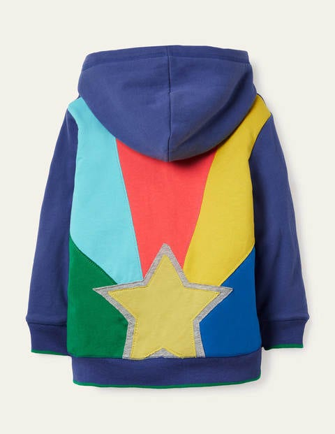 Shaggy-lined Zip-up Hoodie - College Navy Rainbow Star