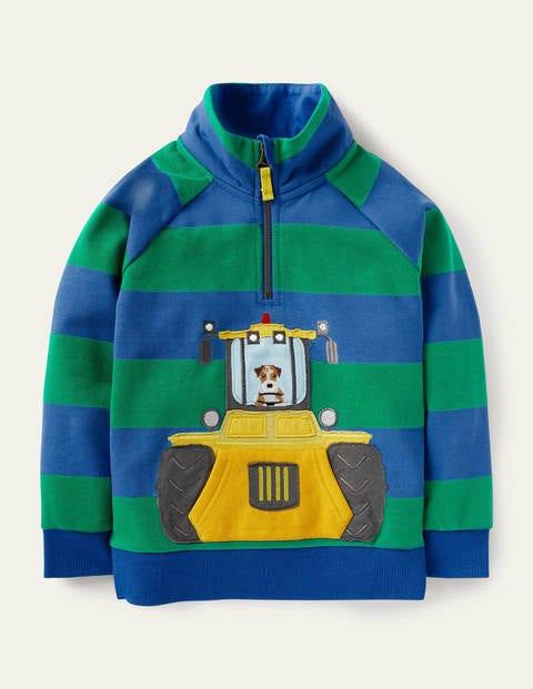 Sweatshirt mit halbem Reißverschluss und Applikation