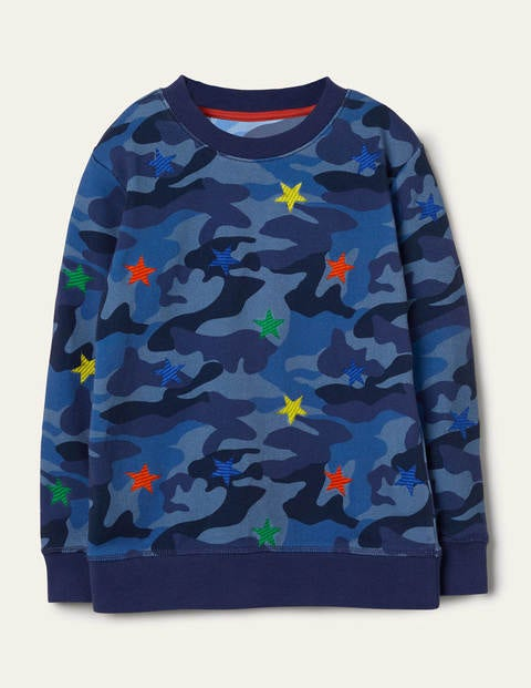 Embroidered Camo Sweatshirt - Blue Camouflage Stars