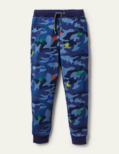 Embroidered Camo Joggers - Blue Camo Star
