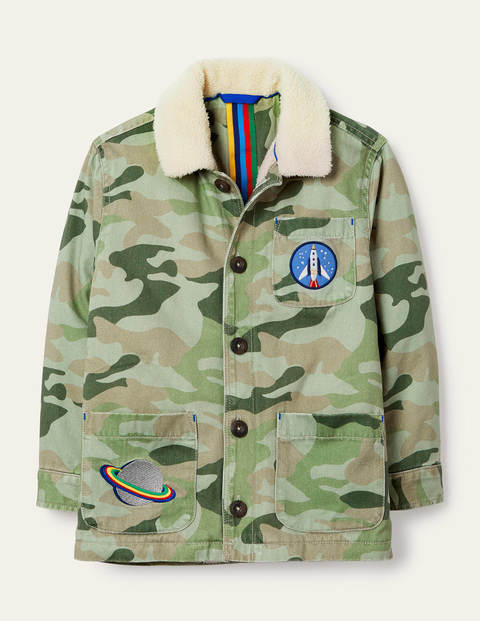 Appliqué Shaggy Space Jacket - Soft Green Camouflage