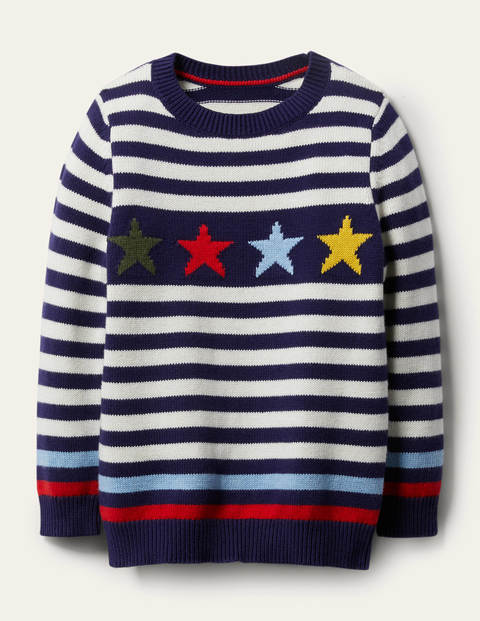 Stripe Crew Sweater - College Navy/Red