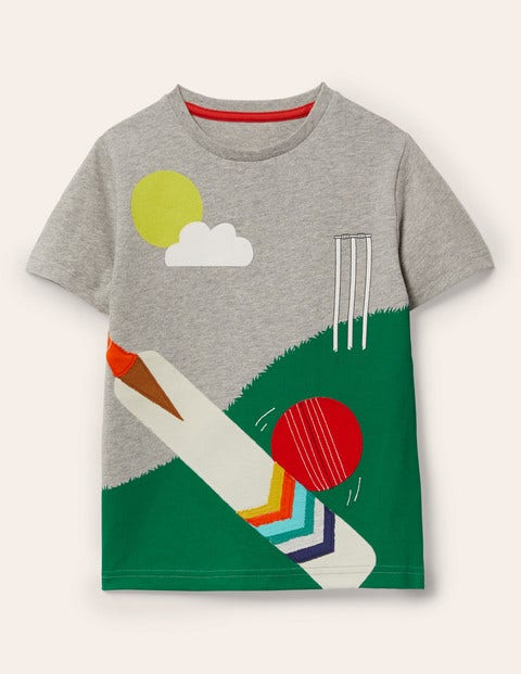 Sporty Appliqué T-shirt - Grey Marl Cricket
