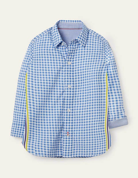 Casual Laundered Shirt - Blue Gingham