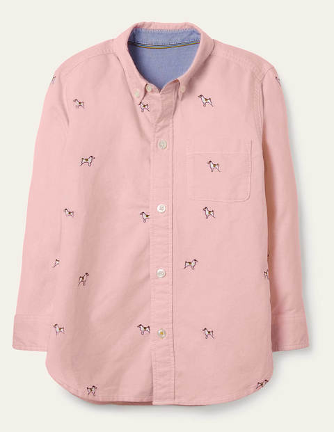 Embroidered Oxford Shirt - Boto Pink Sprout