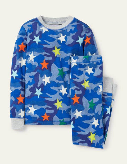 Glow-in-the-dark Long Pajamas - Blue Camouflage Rainbow Star