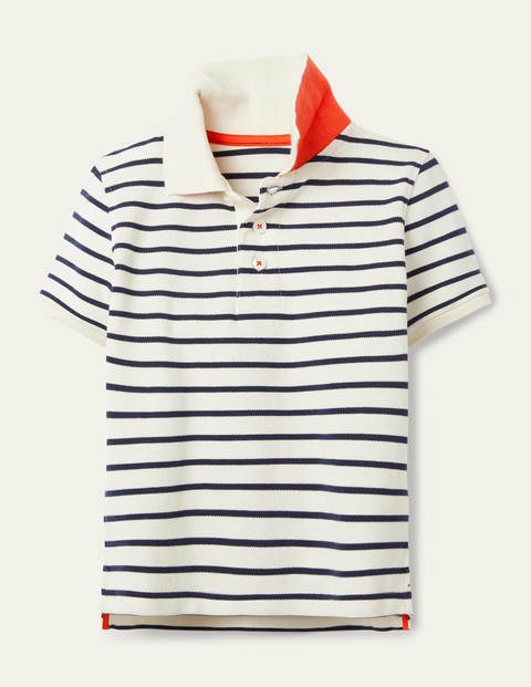 Piqué Polo Shirt - Ivory/College Navy