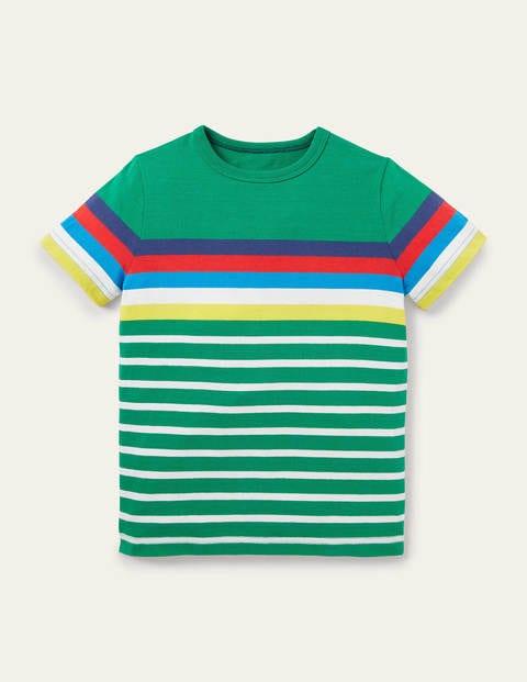 Rainbow Breton T-shirt - Highland Green Rainbow