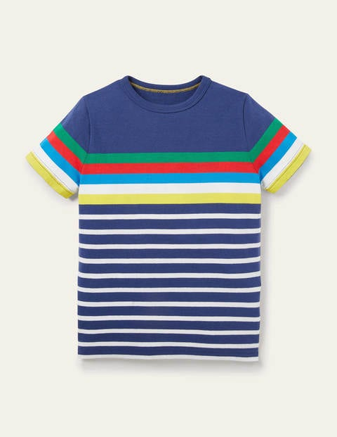 Rainbow Breton T-shirt - Starboard Blue Rainbow