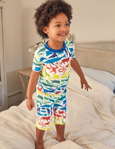 Cosy Twin Pack Short Pajamas - Ivory Rainbow Animals