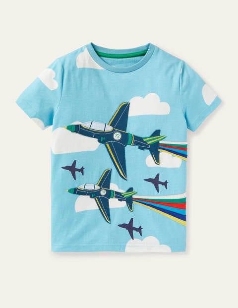 Vehicle Appliqué T-shirt - Aqua Blue Planes