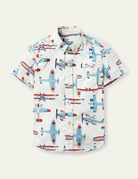 Smart Short-sleeved Shirt - Ivory Planes