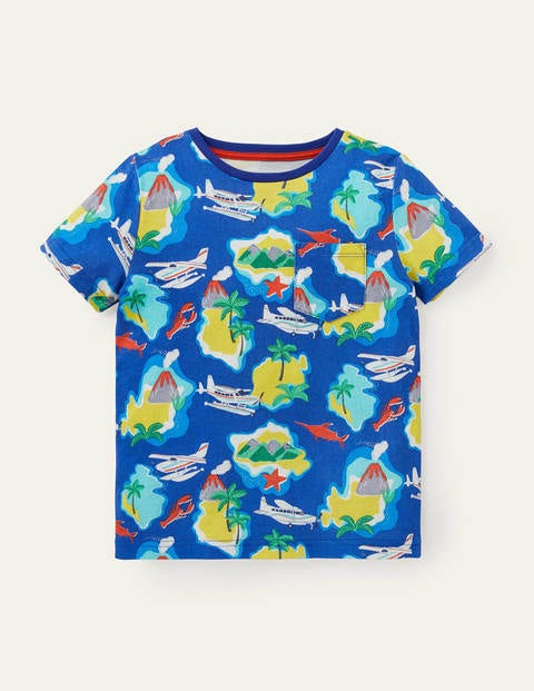Printed T-shirt - Brilliant Blue Island Hopping
