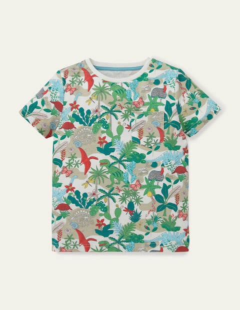 Printed T-shirt - Ivory Dino Island