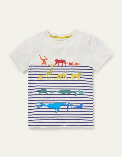 Short-sleeved Breton T-shirt - Ivory/College Navy Animals