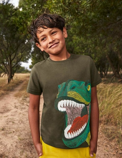 Superstitch Reptile T-shirt - Khaki Green Dino