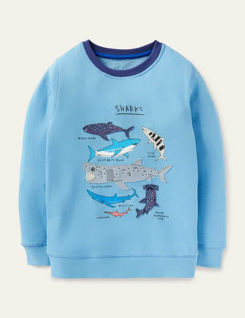 Appliqué Sweatshirt - Surfing Blue Sharks