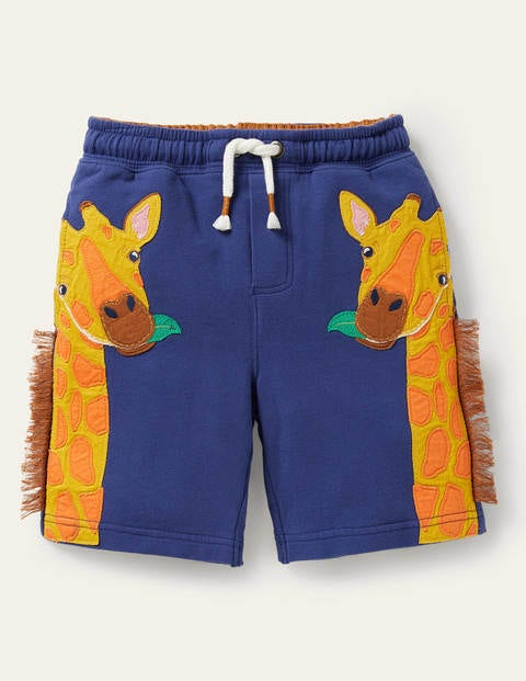 Sweatshorts mit Applikation - Segelblau, Giraffe