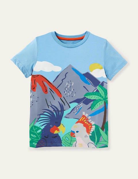 T-Shirt mit Tropenszene - Surfbrettblau, Vulkane und Vögel