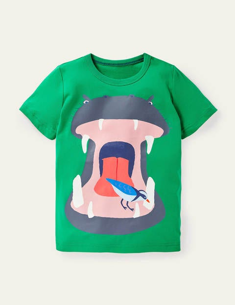 Animal Mouth T-shirt - Sapling Green Hippo