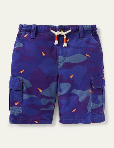 Cargo Shorts - Blue Camouflage Dinosaurs