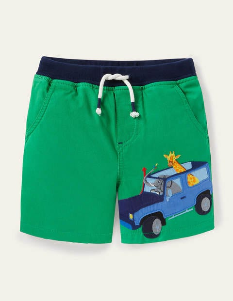 Fun Vacation Shorts - Sapling Green Safari