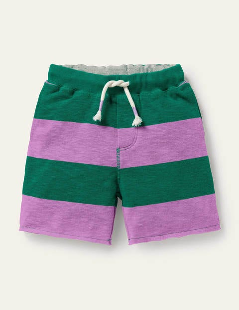 Slub Jersey Shorts - Lupin Purple/Forest Green