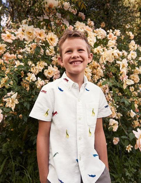Embroidered Short Sleeve Shirt - Ivory Rainbow Animals