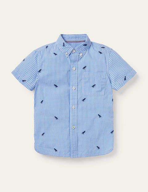Embroidered Short Sleeve Shirt - Sky Blue/Ivory Gingham Dinos